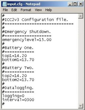 Configuration file for Intelligent Charge Controller - set battery voltages etc