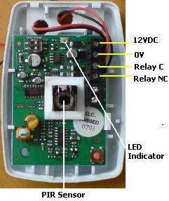 Look inside a PIR sensor at the connections