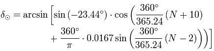 Accurate solar declination calculation equation