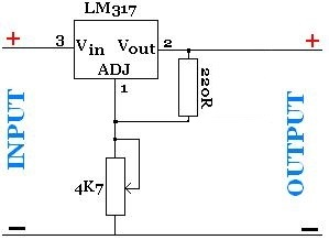 Adjustable power supply with LM317 voltage regulator