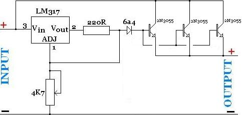 High current adjustable power supply with LM317 and parallel connected power transistors