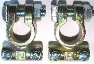 Battery terminals marked with N and P