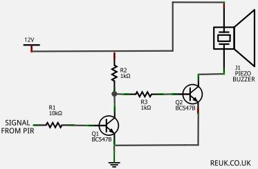 Circuit to control a buzzer with a PIR sensor