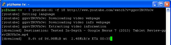 Downloading youtube video to raspberry pi