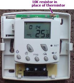 ECO-ET2 programmable room thermostat with thermistor replaced with a 10K resistor