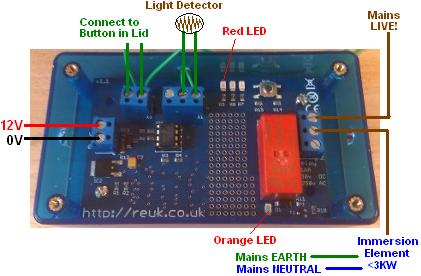 Controller to switch on immersion heater element when solar array is generating sufficient power