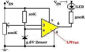 Low battery warning circuit for 12 Volt battery using an LM741 op-amp chip