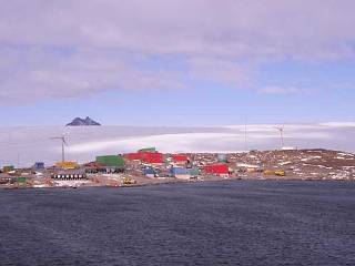 Two wind turbines at Mawson Station in Antarctica