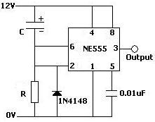 Monostable operation delay on NE555 circuit used to prevent rapid on/off switching of a pump