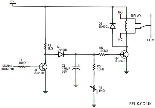 Simple timer relay circuit for a PIR sensor