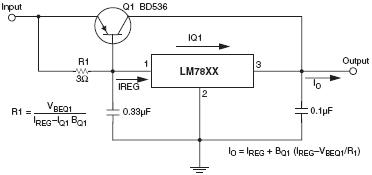 Power transistor used with an LM78XX voltage regulator for high currents