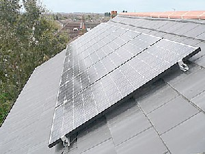 Solar panels installed on the roof of a home