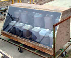 Solar box for heating waste vegetable oil for fuel