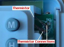 Thermistor used in a battery powered thermostat timer switch