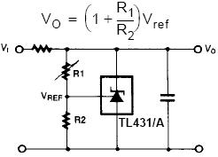 TL431 programmable shunt regulator used in a shunt regulator circuit