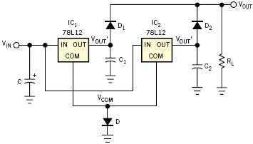 Two LM7812 voltage regulators connected in parallel for a maximum output current of 2 Amp