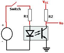 Typical optocoupler circuit