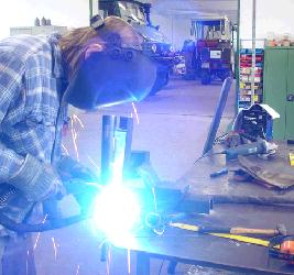 Metalworking skills such as welding are taught at a V3 power workshop