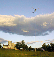 Wind turbine tower with guy wires