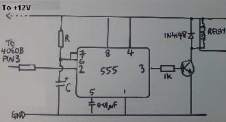 4060B 555 long interval timer relay circuit