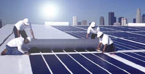 Building Integrated Photovoltaic (BPIV) Solar Roof installation.
