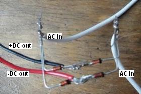 DIY wind turbine bridge rectifier made with Schottky diodes