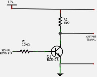 PIR sensor transistor inverter NOT gate circuit diagram