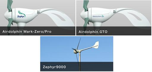 2013 range of Airdolphin wind turbines