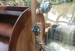 Alternator and gearing fitted to water wheel