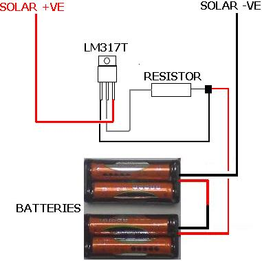 Completed solar battery charger with lm317t current limiting circuit