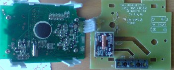 Battery spring contacts removed from the thermostat's relay board