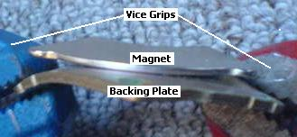 Bending the backing plate away from the magnet