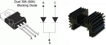 Blocking diode and heat sink suitable for an SCC-20 wind turbine charge controller and dump load controller