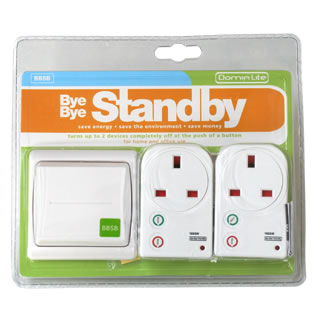 Bye Bye Standby - 2 smart sockets and one green switch