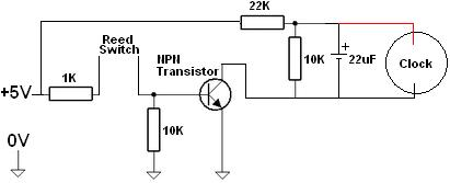 Circuit design for elapsed time timer based on cheap commercial alarm clock