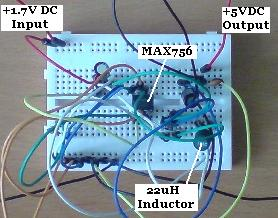 Completed MAX756 DC-DC Voltage Converter Circuit
