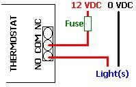 Connecting lights to a timer thermostat - for example in poultry lighting