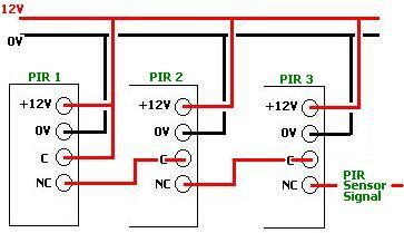 connecting multiple PIR sensors together multiple pir sensor circuits reuk co uk honeywell pir sensor wiring diagram at webbmarketing.co