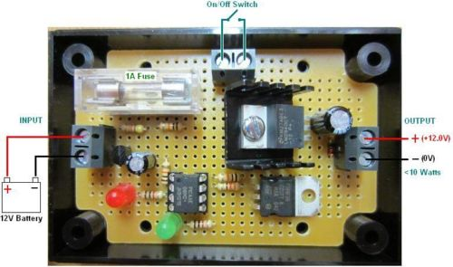 Connection diagram for a 12V regulator with integrated low voltage disconnect
