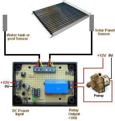 Connection diagram for solar water heating pump controller for swimming pools with waterproof temperature sensors
