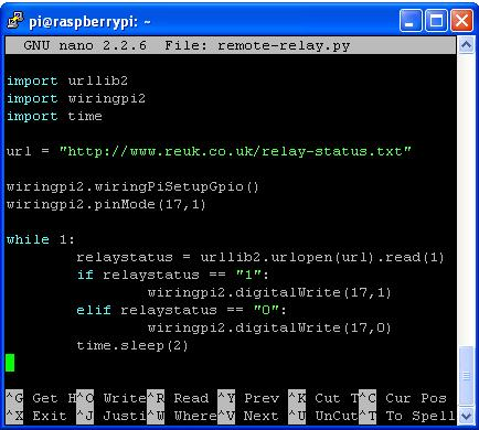 Python script used to control a relay over the internet via Raspberry Pi