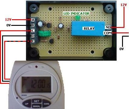 Connecting up the Tesco TE7 timer conversion