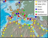 Map of potential concentrated solar power sites