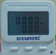 Screen display of the EcoSavers power meter