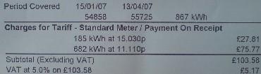 Electricity bill tariffs