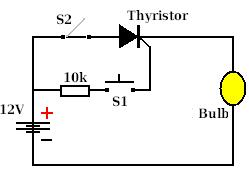 Example circuit using a thyristor to turn on a light