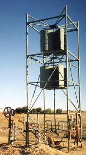 Home made Savonius wind turbine used to pump water