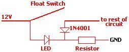 LED will be turned on whenever the float switch is open