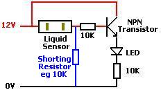 Using a liquid sensor with a transistor, and adding a resistor to short out the internal capacitor