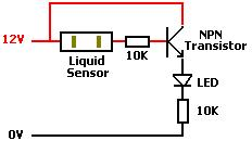 Using a liquid sensor with a transistor